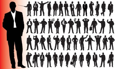 Silhouettes of many business - vector illustration stock vector