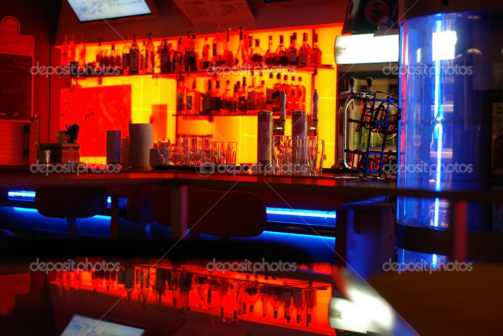 A stylish night bar with contemporary de