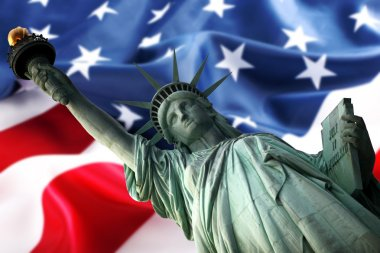 NY Statue of Liberty against a flag of U