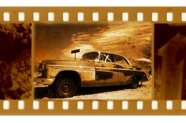 Oldies 35mm frame photo with old car