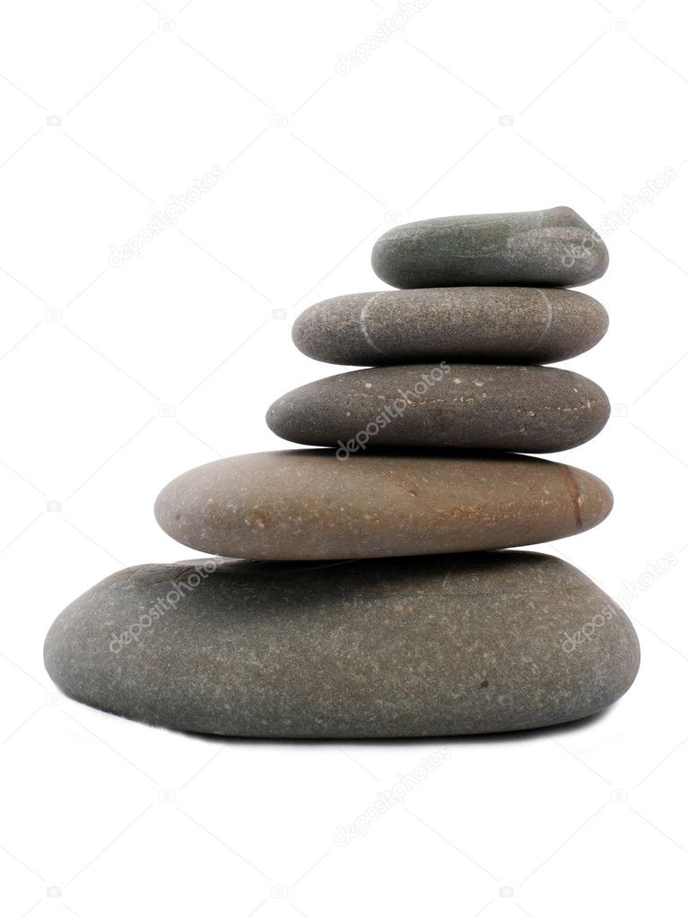 Five Zen stones isolated on white