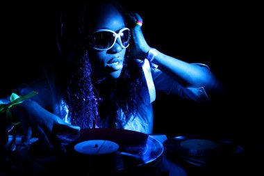 Afro american DJ blue light
