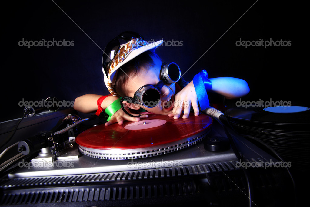 Crazy Cool Kid Dj In Aktion Stockfoto Konstantin32 2212679