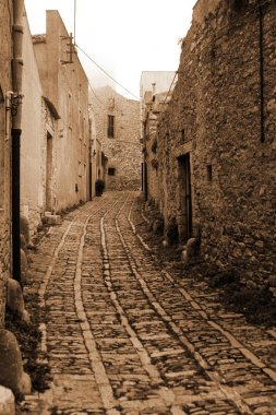 Old Italy ,Sicily, fog in Eriche city