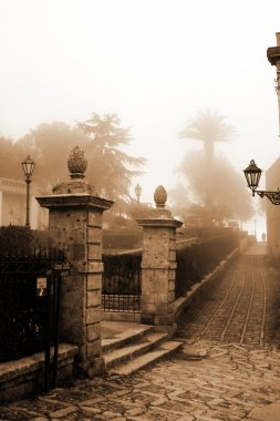 Old Italy ,Sicily,fog in Eriche city