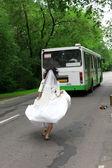 Fotografie führen sie weg braut-bus