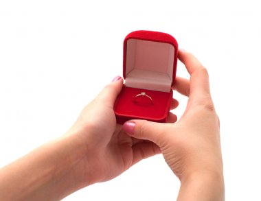 Gift in female hands.