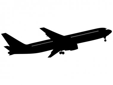 Black silhouette on a airplane. Vector illustration.