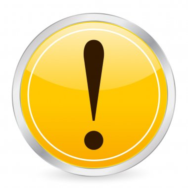 Exclamation mark yellow circle icon