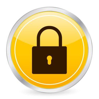 Padlock yellow circle icon