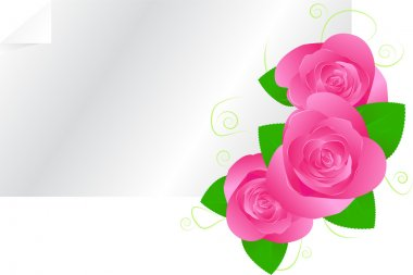 Greeting card template with roses