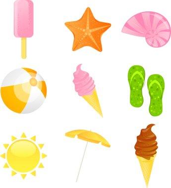 Summer beach icon set. Vector illustrati