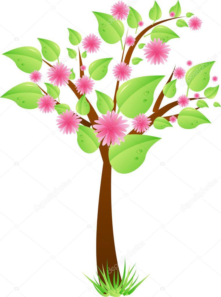 árbol con hojas y flores de color rosado — Vector de stock © artlana ...