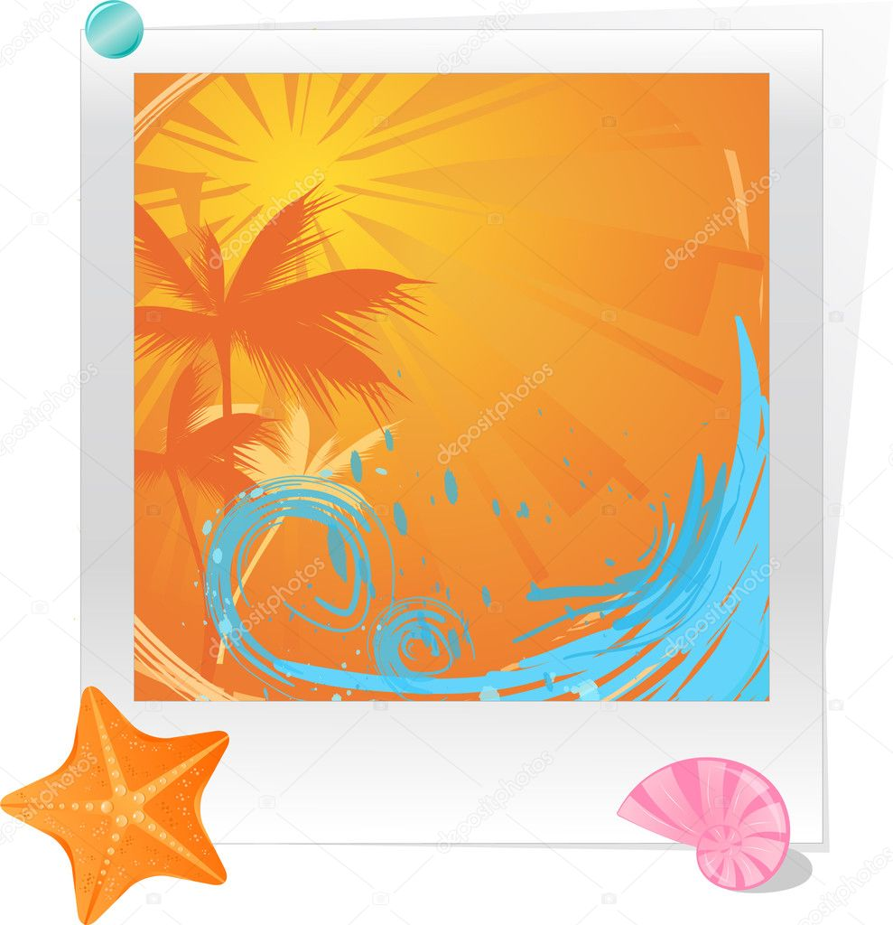 Palm sunset ocean with starfish and seas