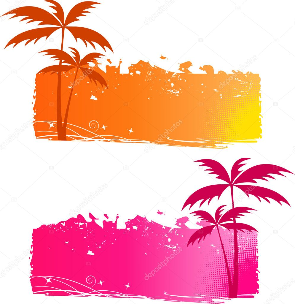 Grungy backgrounds with palm trees