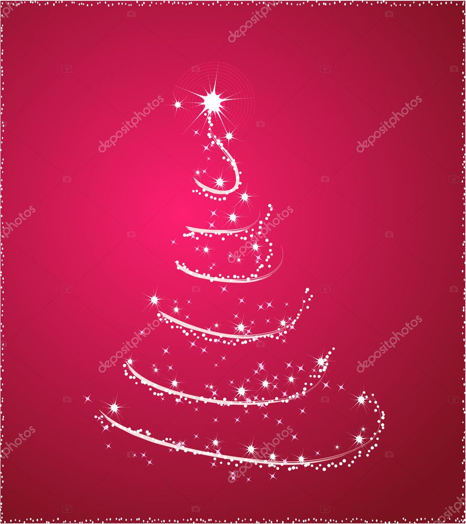 Background With One Christmas Tree In Pink Color Vector By Artlana