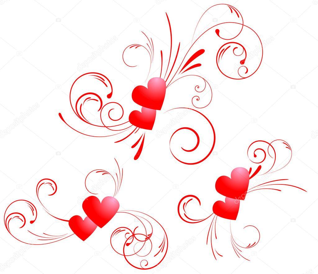 valentine hearts swirl u2014 stock vector artlana 1547839