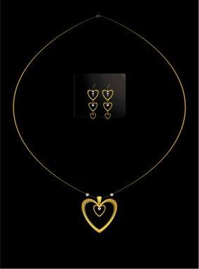 Elegant nested gold heart necklace set