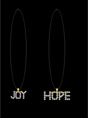 Gold diamond hope and joy necklaces