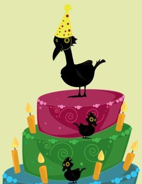 Birds with birthday cake