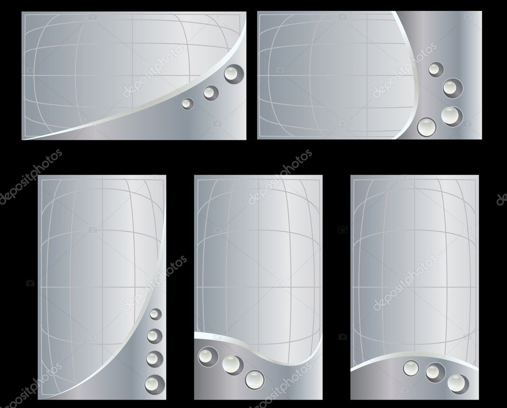 Silver business card set 2 — Stock Vector © Randomway #2145104