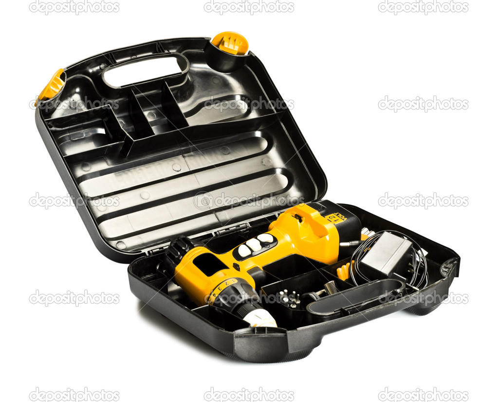 Toolbox with yellow drill set