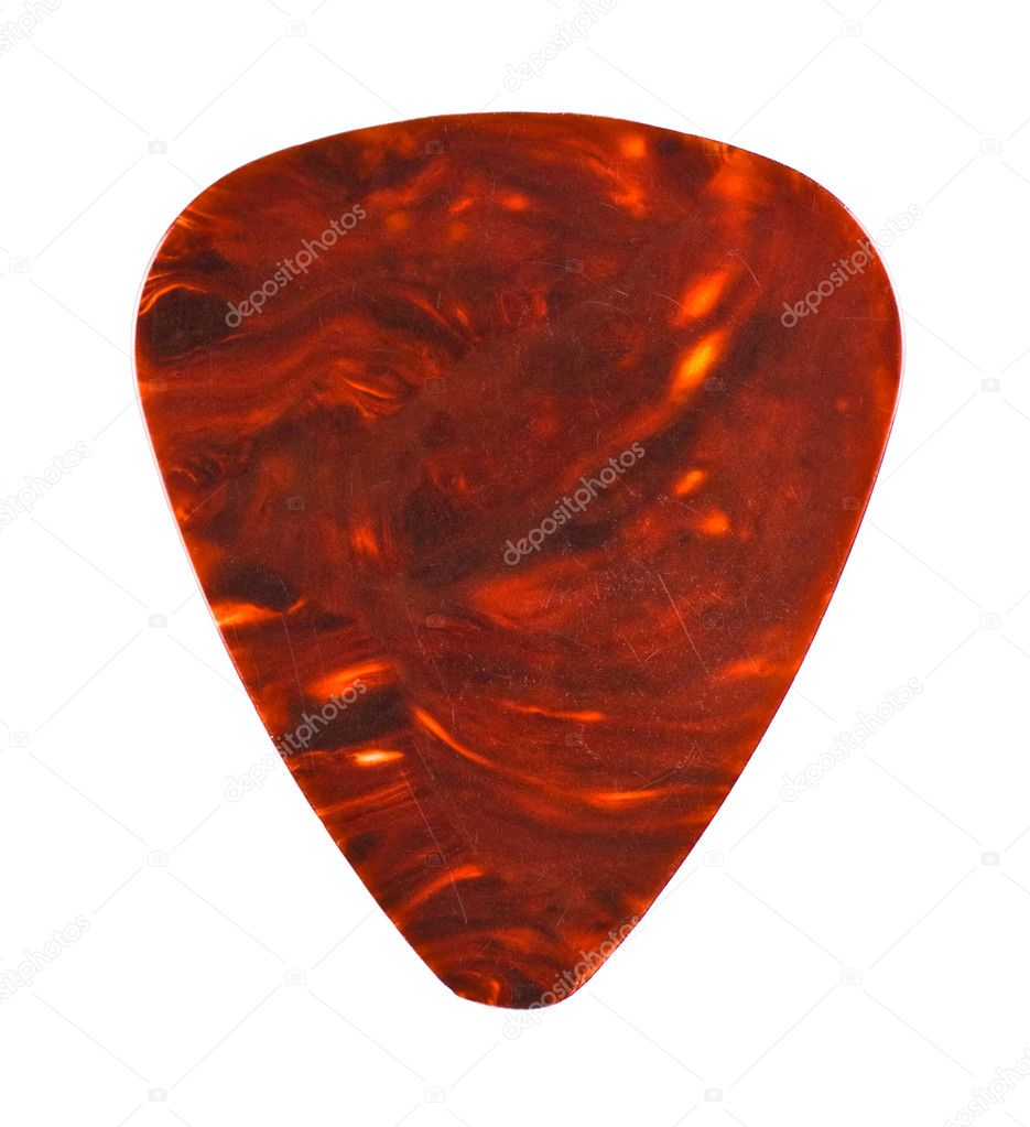 Brown guitar plectrum