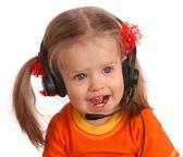 fülhallgató gyermek portréja