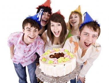 Teenagers celebrate happy birthday.