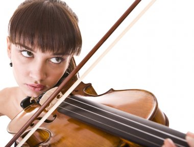 Aggressive young girl with fiddle.