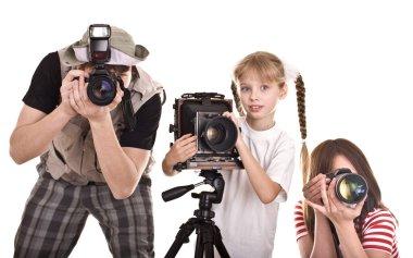 Happy family with three camera.