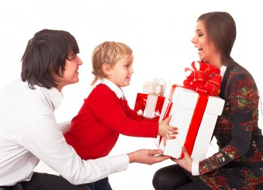 Happy family with white gift box.