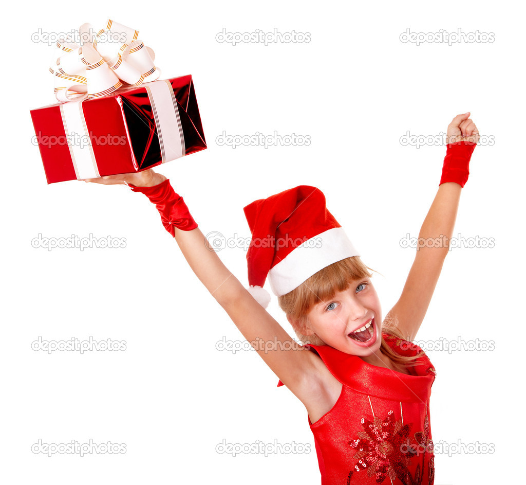Girl child in red dress with gift box