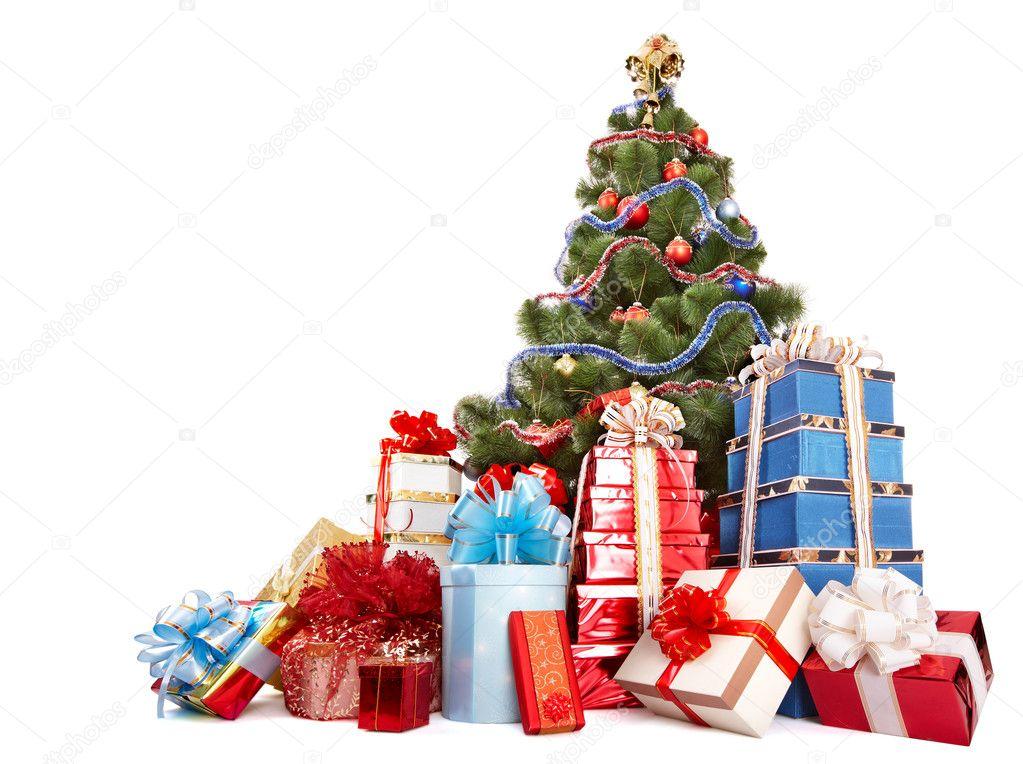 Weihnachtsbaum und Gruppe-Geschenk-box — Stockfoto © poznyakov #1337482