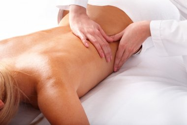 Massage of back. Spa beauty.