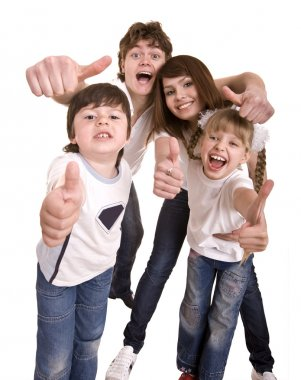 Happy family throw out thumb.