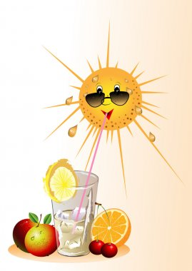The stylised Sun, cocktail with ice, fruit on a white background clip art vector