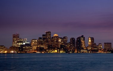 Panorama of Boston Skyline at night