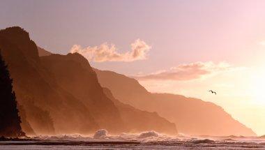 Sunset off Na Pali coastline on Kauai