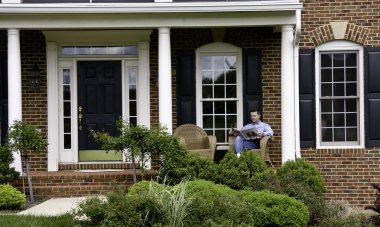 Man relaxed on porch