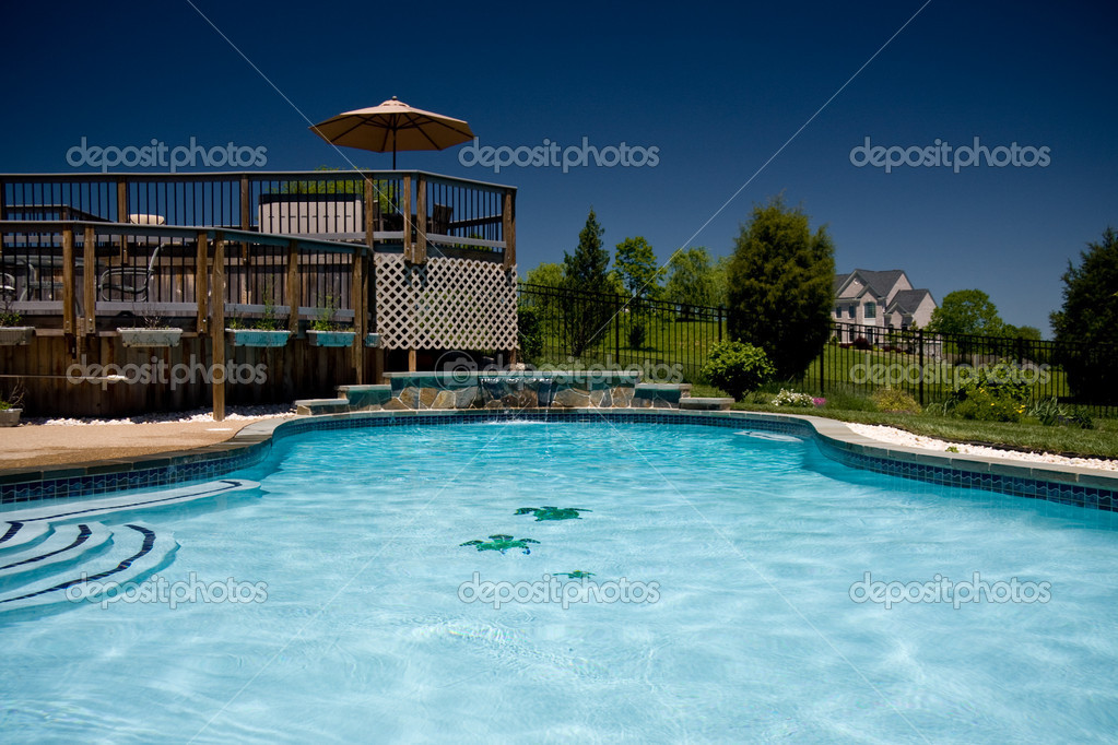Water level view of pool and deck — Stock Photo © steveheap #1175512
