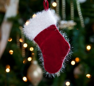 Fur lined stocking in front of xmas tree