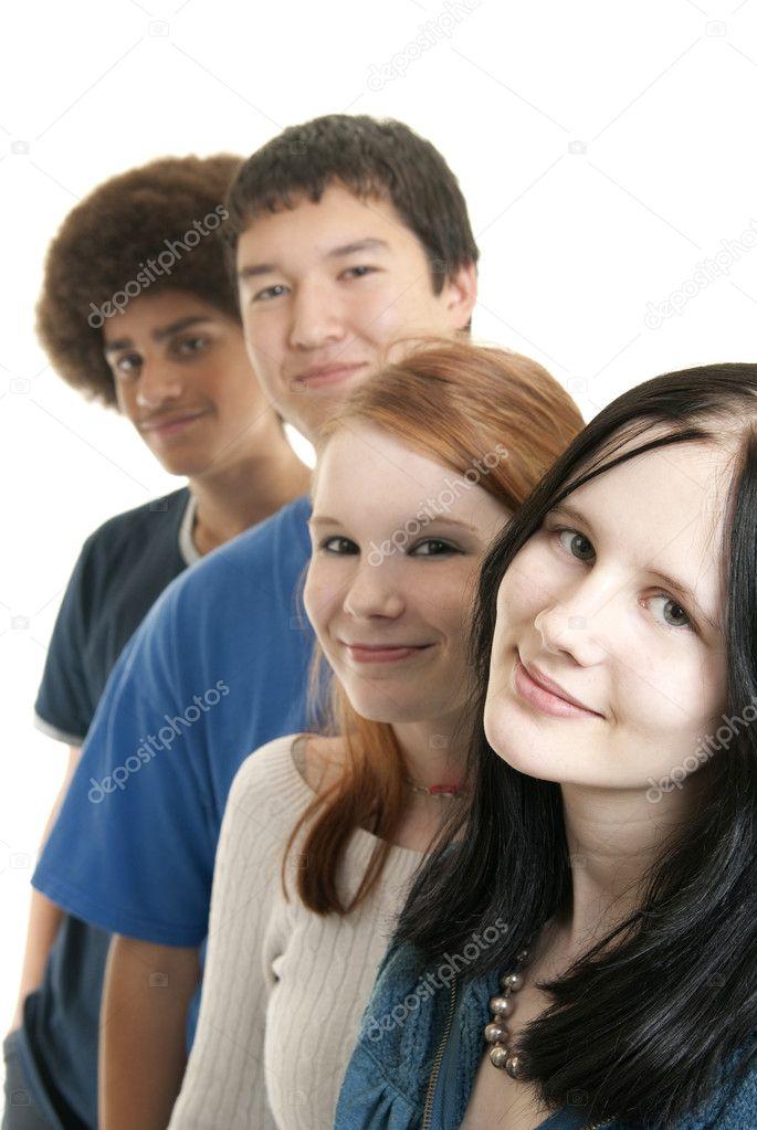 Ethnic teen friends smiling