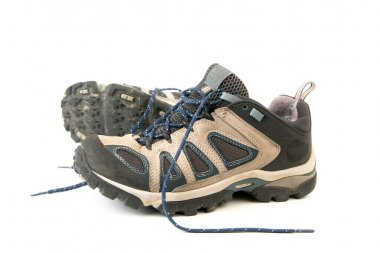 Clothes hiking boots or shoes isolated o
