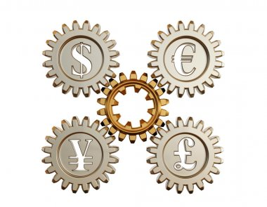 3D. Gear and currency symbols