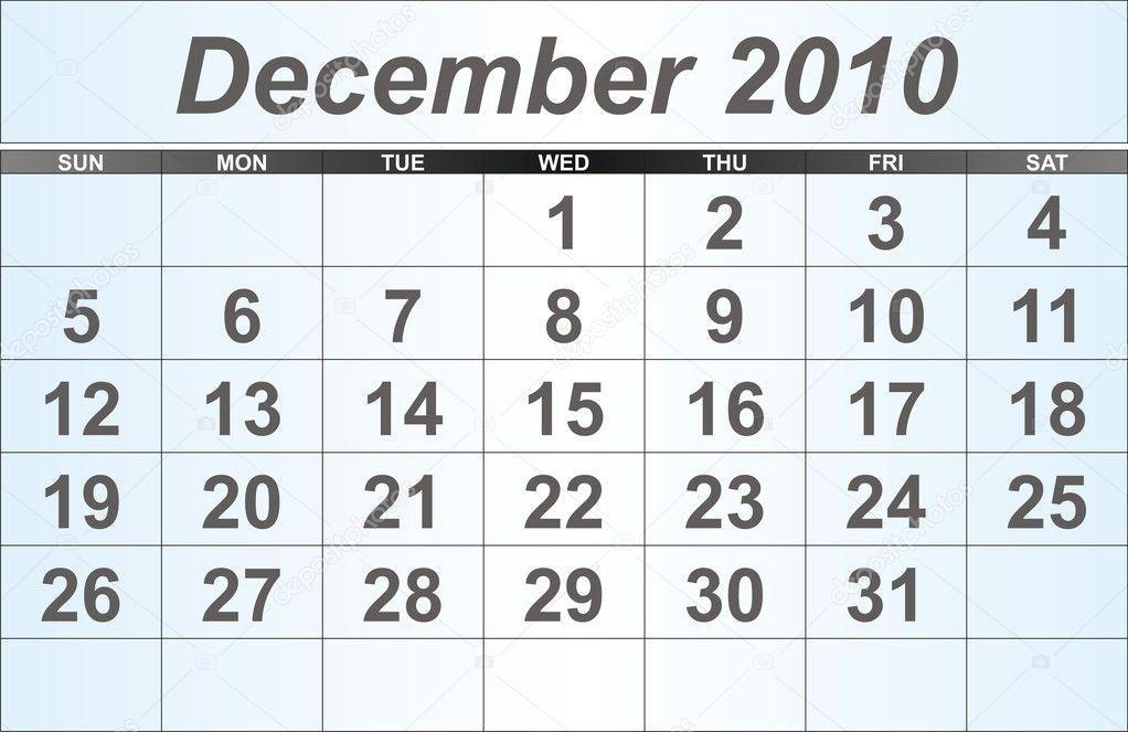 2010 decemberi naptár 2010. december asztali naptár — Stock Fotó © guzmania #1105744 2010 decemberi naptár