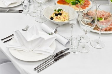 Table appointments for dinner in restaur