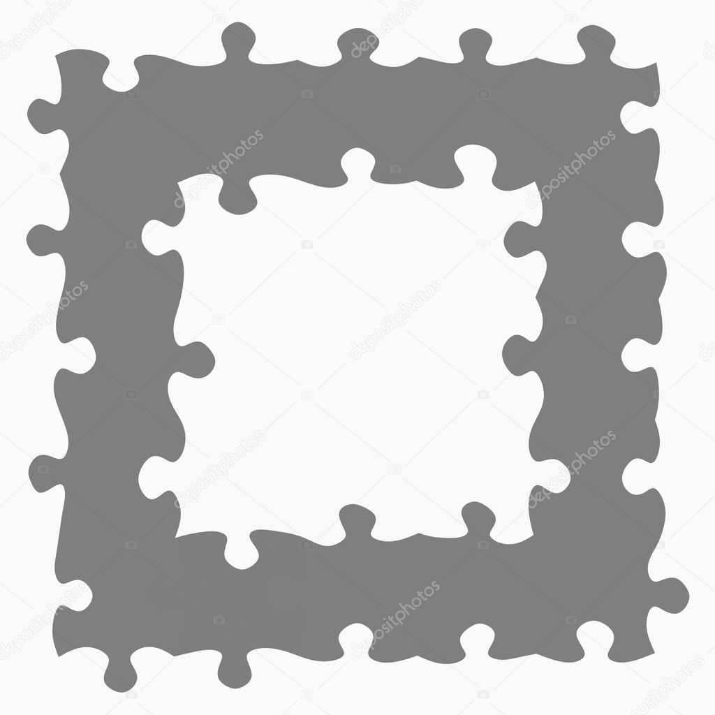 Grey jigsaw frame stock photo weknow 1272851 monochrome texture of puzzle pieces in a square frame photo by weknow jeuxipadfo Images