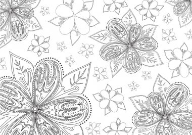 B&w floral background