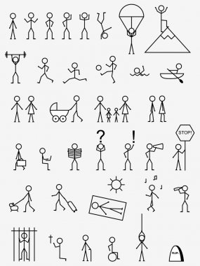 Various activities, job and life situations pictograms. stock vector